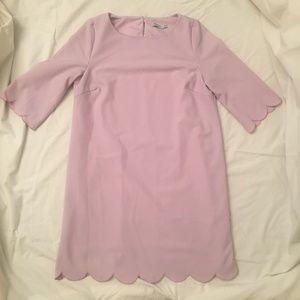 Tobi Scalloped Edge Shift Dress in Lilac Size XS